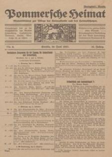 Pommersche Heimat. Monatsblätter zur Pflege der Heimatkunde und des Heimatschutzes Nr. 6/1927