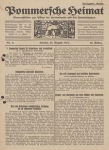 Pommersche Heimat. Monatsblätter zur Pflege der Heimatkunde und des Heimatschutzes Nr. 8/1927
