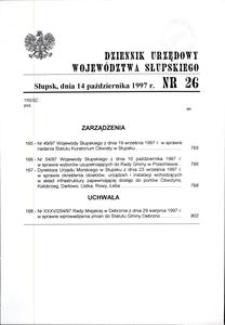 Dziennik Urzędowy Województwa Słupskiego. Nr 26/1997