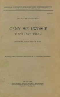Ceny we Lwowie w XVI i XVII wieku