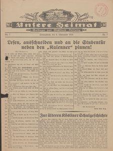 Unsere Heimat. Beilage zur Kösliner Zeitung Nr. 7/1929
