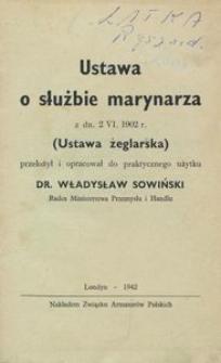 Ustawa o służbie marynarza z dn. 2.VI.1902 r.