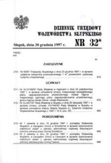 Dziennik Urzędowy Województwa Słupskiego. Nr 32/1997