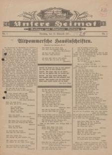 Unsere Heimat. Beilage zur Kösliner Zeitung Nr. 1/1929
