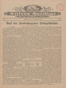 Unsere Heimat. Beilage zur Kösliner Zeitung Nr. 6/1928