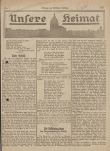 Unsere Heimat. Beilage zur Kösliner Zeitung Nr. 1/1922
