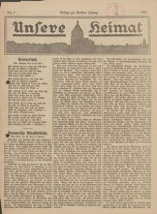 Unsere Heimat. Beilage zur Kösliner Zeitung Nr. 7/1922