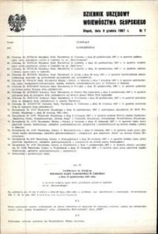 Dziennik Urzędowy Województwa Słupskiego. Nr 7/1987