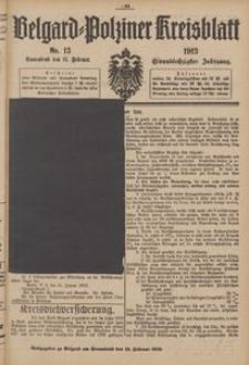 Belgard-Polziner Kreisblatt, 1913, Nr 13