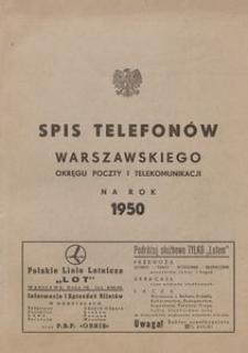 Spis telefonów warszawskiego okręgu poczty i telekomunikacji na rok 1950