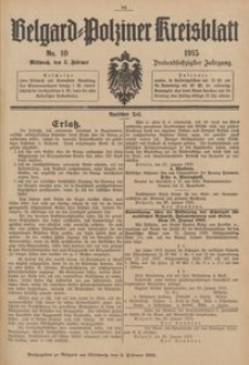 Belgard-Polziner Kreisblatt, 1915, Nr 10