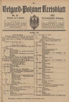 Belgard-Polziner Kreisblatt, 1915, Nr 16