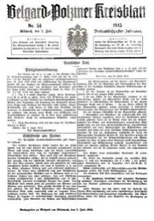 Belgard-Polziner Kreisblatt, 1915, Nr 54