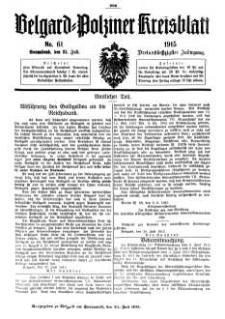Belgard-Polziner Kreisblatt, 1915, Nr 61