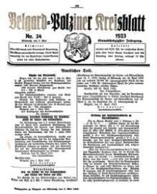 Belgard-Polziner Kreisblatt, 1923, Nr 34