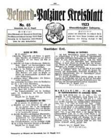 Belgard-Polziner Kreisblatt, 1923, Nr 65