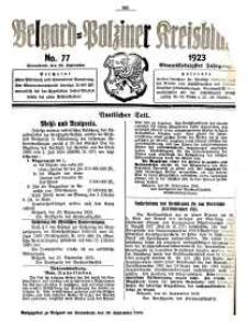 Belgard-Polziner Kreisblatt, 1923, Nr 77