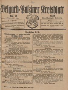 Belgard-Polziner Kreisblatt, 1923, Nr 18