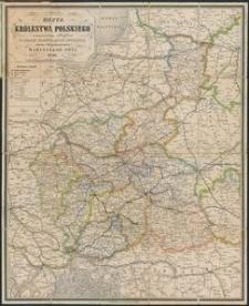 Mappa Królestwa Polskiego [Mapa] : z oznaczeniem odległości na drogach żelaznych, bitych i zwyczajnych