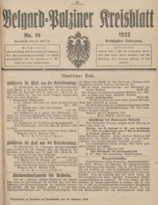 Belgard-Polziner Kreisblatt, 1922, Nr 14