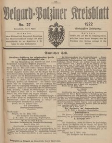 Belgard-Polziner Kreisblatt, 1922, Nr 27