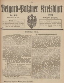 Belgard-Polziner Kreisblatt, 1922, Nr 45