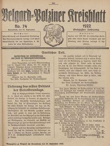 Belgard-Polziner Kreisblatt, 1922, Nr 74