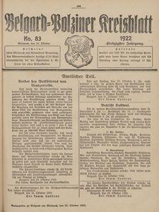 Belgard-Polziner Kreisblatt, 1922, Nr 83
