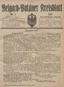 Belgard-Polziner Kreisblatt, 1921, Nr 1