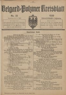 Belgard-Polziner Kreisblatt, 1920, Nr 32