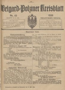 Belgard-Polziner Kreisblatt, 1920, Nr 63