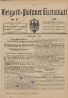 Belgard-Polziner Kreisblatt, 1920, Nr 81