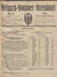 Belgard-Polziner Kreisblatt, 1921, Nr 32