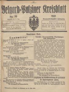 Belgard-Polziner Kreisblatt, 1921, Nr 39