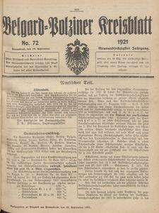 Belgard-Polziner Kreisblatt, 1921, Nr 72
