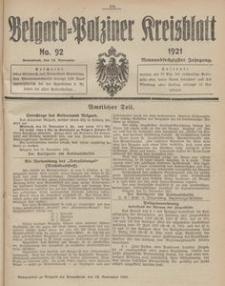 Belgard-Polziner Kreisblatt, 1921, Nr 92