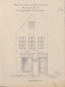Skizze vom Hause des Fleischermeisters Heinrich Koch mit angebrachter Gedenktafel