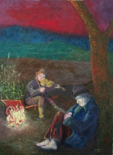 Remus i król jeziora przy ognisku