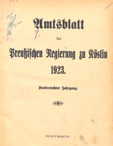 Amtsblatt der Preuβischen Regierung zu Köslin 1923