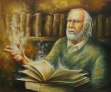 Ojciec w bibliotece