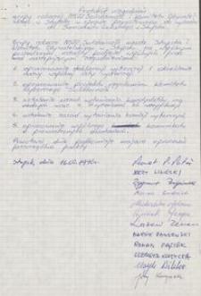 Protokół uzgodnień grupy roboczej NSZZ Solidarność i Komiotetu Obywatelskiego w Słupsku w sprawie przygotowania do wyborów do Samorządu Lokalnego w Słupsku