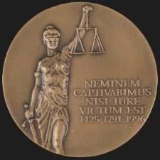Medal Pamiątkowy - Neminem Saptivabimus Nisi Iure Victum Eest 1425-1794-1996