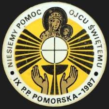 Plakietka - Niesiemy Pomoc Ojcu Świętemu IX P.P Pomorska - 1987