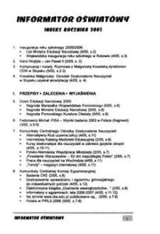 Informator Oświatowy ; indeks rocznika 2005
