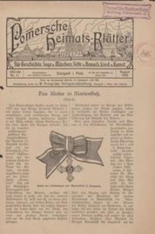 Pommersche Heimats-Blätter für Geschichte, Sage, u. Märchen, Sitte u. Brauch, Lied u. Kunst, 1908, No. 11