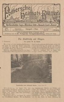 Pommersche Heimats-Blätter für Geschichte, Sage, u. Märchen, Sitte u. Brauch, Lied u. Kunst, 1912, No. 8