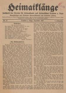 Heimatklänge. Zeitschrift des Vereins für Heimatkunde und Heimatschutz Treptow a. Rega, 1927, Nr. 12