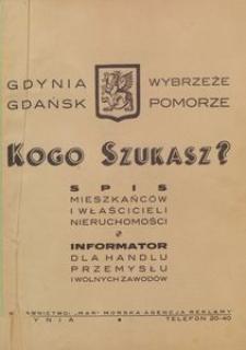 Kogo szukasz? Informator dla handlu i przemysłu. Spis mieszkańców. Gdynia Gdańsk Pomorze Wybrzeże