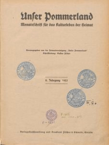 Unser Pommerland : Monatsschrift für das Kulturleben der Heimat : 8. Jahrgang 1923