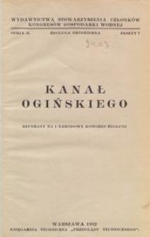 Kanał Ogińskiego : Referaty na I Narodowy Kongres Żeglugi